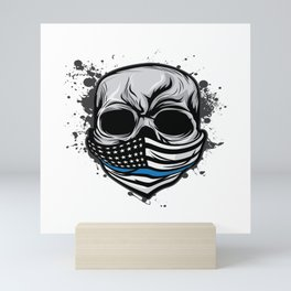 Here's A Unique Design Of A Braincase Skull With An American Flag Scarf On T-shirt Design Gray Tones Mini Art Print