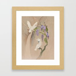 Cockatoos and Wisteria Framed Art Print