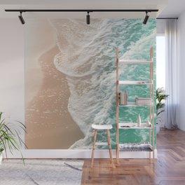 Soft Emerald Beige Ocean Dream Waves #1 #water #decor #art #society6 Wall Mural