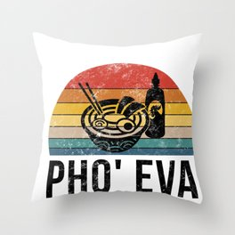 What The Pho Retro Food Lover Foodie Soup Pun Gift Throw Pillow