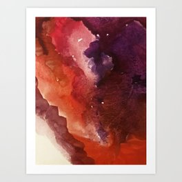 Starlight [3]: a pretty abstract watercolor piece in reds and purples by Alyssa Hamilton Art Art Print