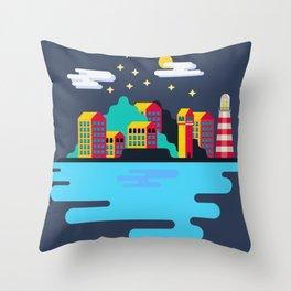 Town on island Throw Pillow