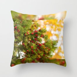Yew red fruits bunch grow Throw Pillow