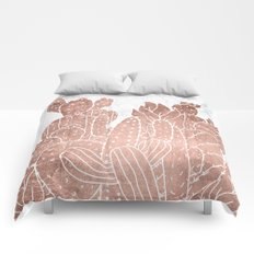 Modern faux rose gold cactus hand drawn pattern illustration white marble Comforters