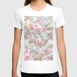 Country chic vintage green blush pink elegant floral T-shirt