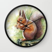 squirrel Wall Clocks featuring Squirrel by Olechka
