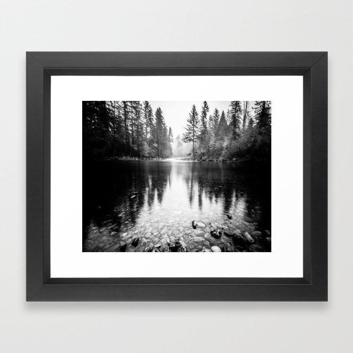 Forest Reflection Lake - Black and White - Nature Photography Framed ...