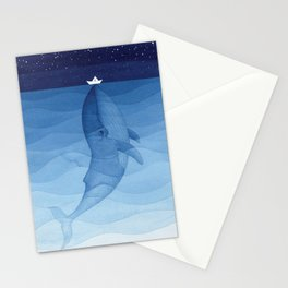 Whale blue ocean Stationery Cards
