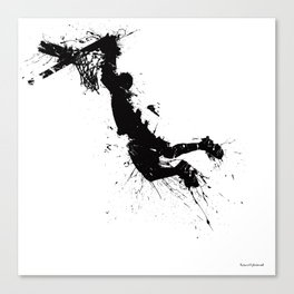 Basketball player dunking in ink Canvas Print