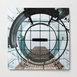 Architecture Abstract Circles and Glass Squares Metal Print