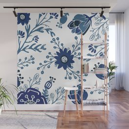 Porcelain Flowers Wall Mural