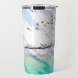 White Sand Teal Waters  // A Modern Artsy Style Graphic Photography of Beautiful Light Green Tropics Travel Mug