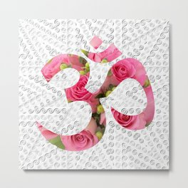 Aum Rose Silver Mandala Metal Print