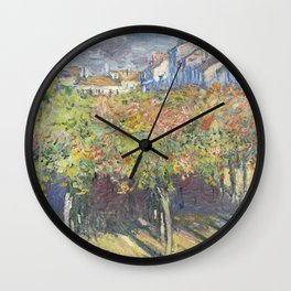 Les Tilleuls à Poissy by Claude Monet Wall Clock