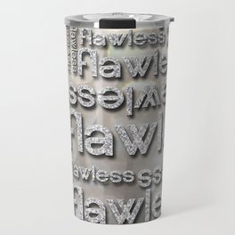Flawless Silver Glitter Repeated Typography Travel Mug