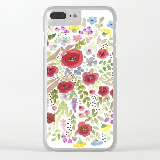 Hand drawn watercolor flowers, cute floral print Clear iPhone Case