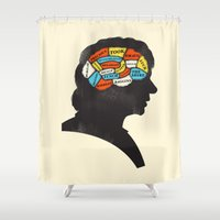 smaug Shower Curtains featuring Bilbo Phrenology by Wharton