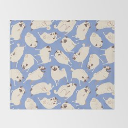 Peppy Pugs - blue Throw Blanket