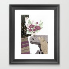 Girl, her Dog and bouquet of Flowers Framed Art Print