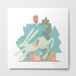 bunny hare in the forest Metal Print