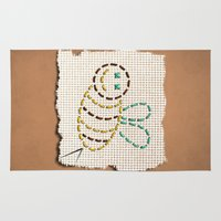bee Area & Throw Rugs featuring bee by gazonula
