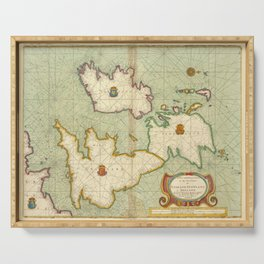 Vintage Map of The British Isles (1707) Serving Tray