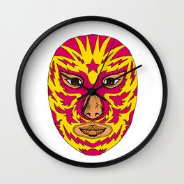 Luchador Mask Star Lightning Bolt Drawing Wall Clock