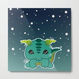 Kawaii Baby Dragon Metal Print
