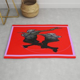 Red-Charcoal Grey Abstracted Saturday Night Dance Rug