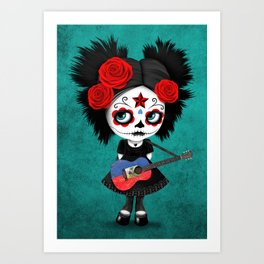 Day of the Dead Girl Playing Haitian Flag Guitar Art Print