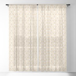 Beige and pink. Geometric Pattern Sheer Curtain