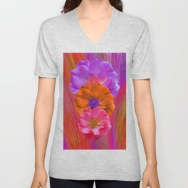 Faux Fur and Flowers Unisex V-Neck