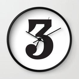 Prime number three / minimalist design / typography Wall Clock