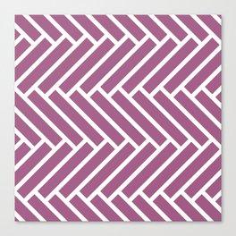 Mauve and white herringbone pattern Canvas Print