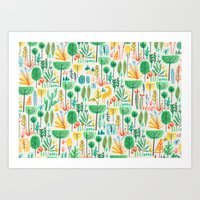 Jungle life with golden unicorn Art Print