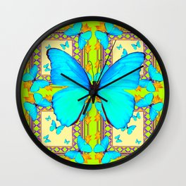 Turquoise Satin Butterflies On Lime & Cream Colors Wall Clock