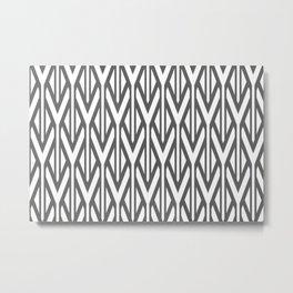 Grey stripes triangles pattern design - white Metal Print