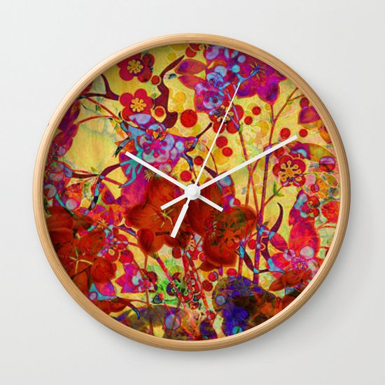 floral on yellow Wall Clock