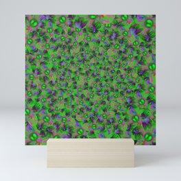 Abstract sewn flowers Mini Art Print