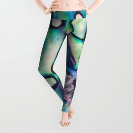 Purpley Green Mother of Pearl Abalone Shell Leggings