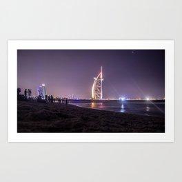 Timelapse Dubai Beach Art Print