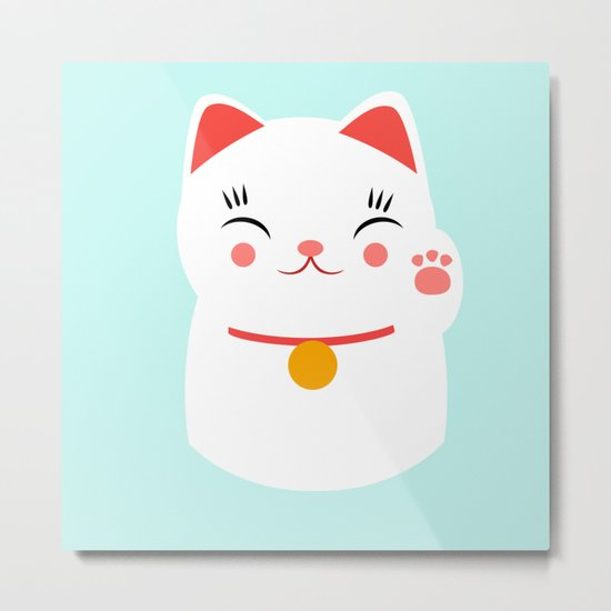 Lucky happy Japanese cat Metal Print