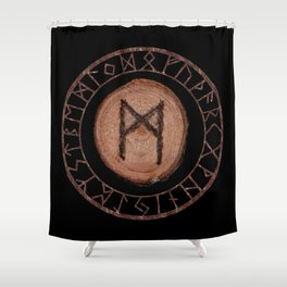 Mannaz - Wooden Celtic Rune of self, individuals, universe, family, loved ones, friends, devoted Shower Curtain