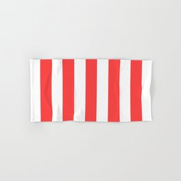 Coral red - solid color - white vertical lines pattern Hand & Bath Towel