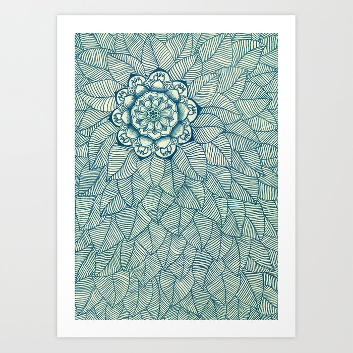 Emerald Green, Navy & Cream Floral & Leaf doodle Art Print
