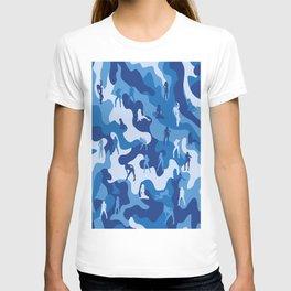Sexy Girl on Navy Military Camo T-shirt