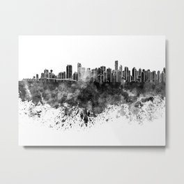 Vancouver skyline in black watercolor on white background Metal Print