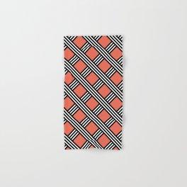 Pantone Living Coral, Black & White Diagonal Stripes Lattice Pattern Hand & Bath Towel