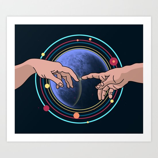 Michelangelo space blue Art Print