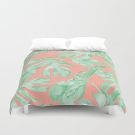Tropical Palm Leaves Hibiscus Flowers Coral Green Duvet Cover